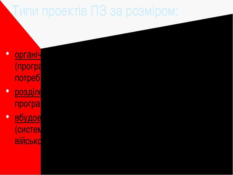 Типи проектів ПЗ за розміром: органічні (organic) - 2-50 тисяч рядків програм...