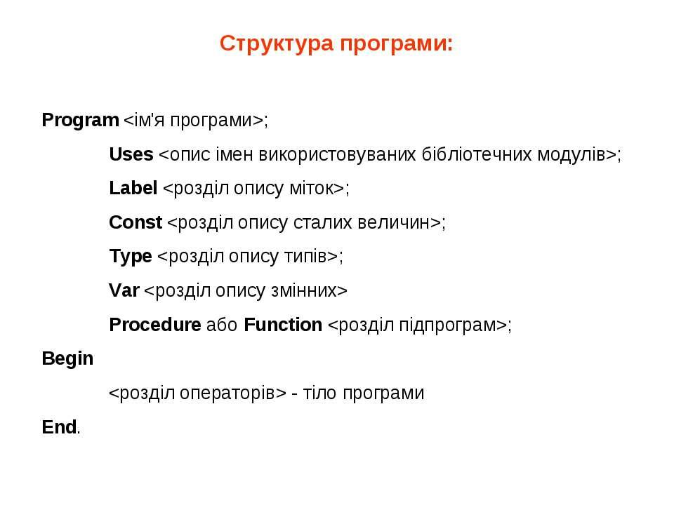 Структура програми: Program