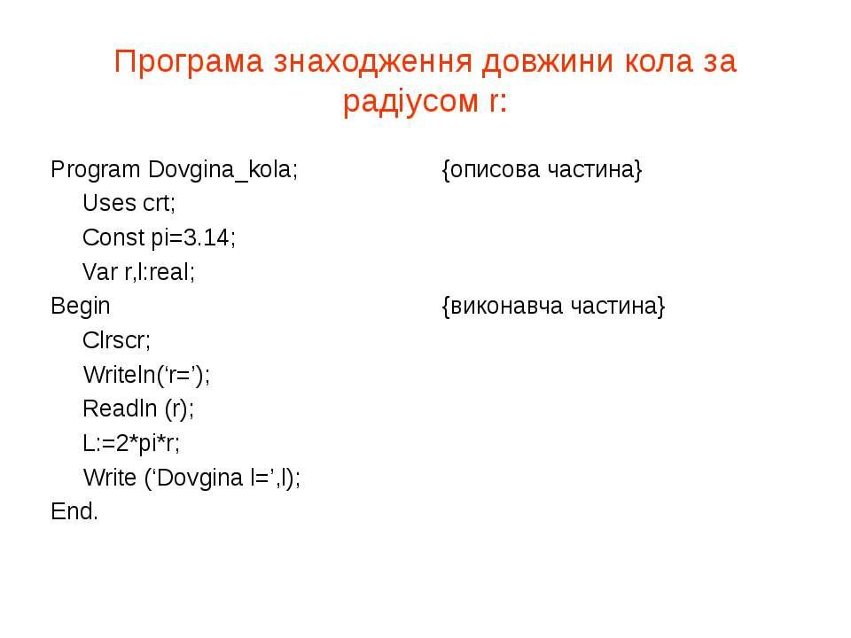 Програма знаходження довжини кола за радіусом r: Program Dovgina_kola; {описо...