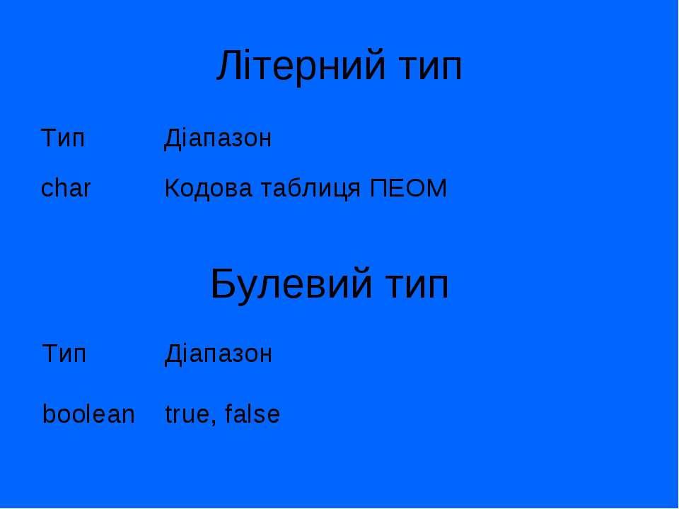 Літерний тип Булевий тип