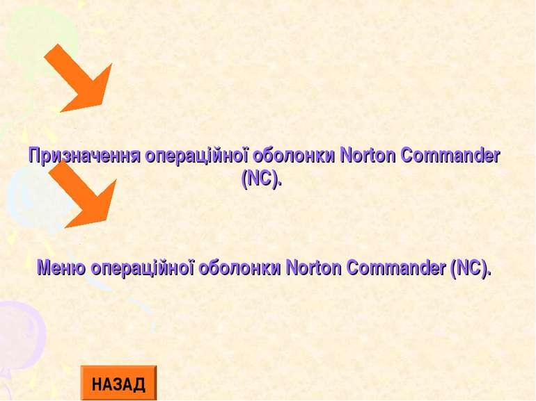 Призначення операційної оболонки Norton Commander (NC). Меню операційної обол...