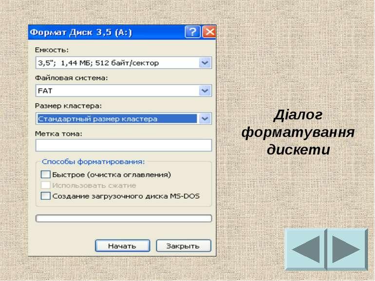 Діалог форматування дискети