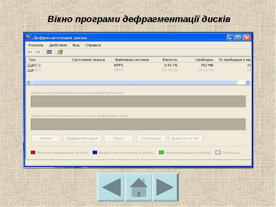 Вікно програми дефрагментації дисків