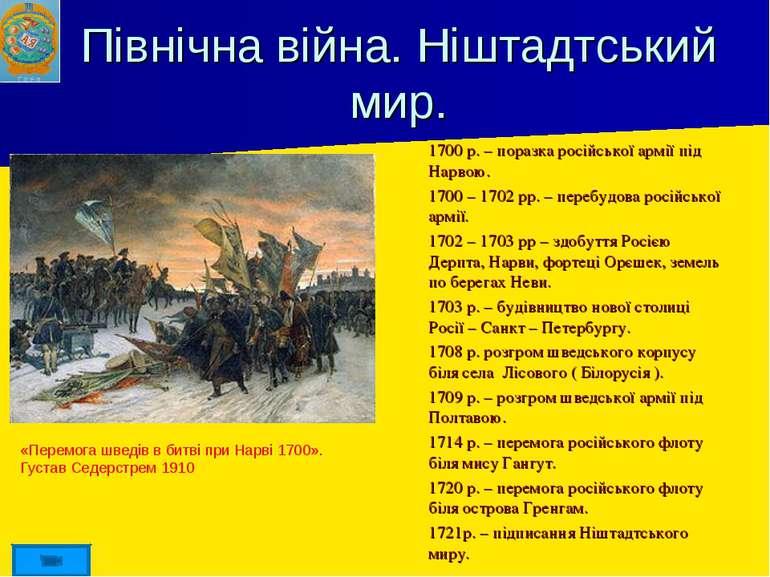 Північна війна. Ніштадтський мир. 1700 р. – поразка російської армії під Нарв...