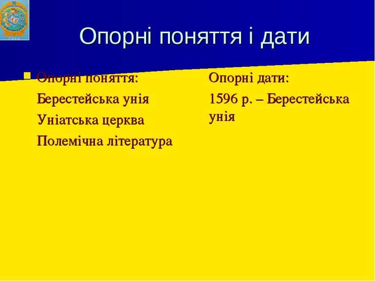 Опорні поняття і дати Опорні поняття: Берестейська унія Уніатська церква Поле...