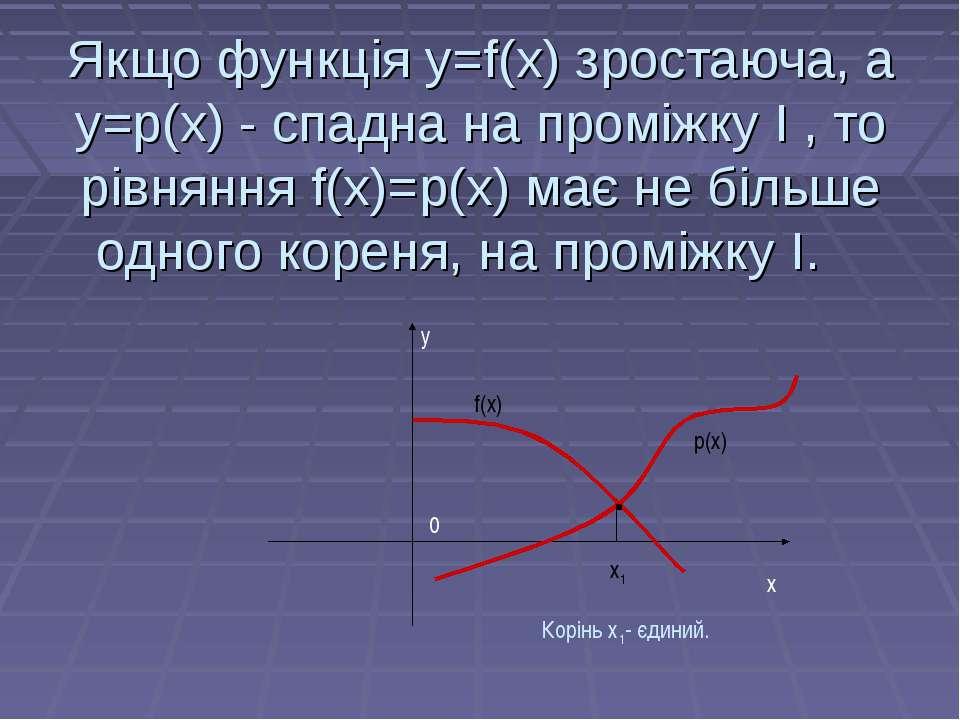 Якщо функція у=f(х) зростаюча, а у=p(х) - спадна на проміжку І , то рівняння ...