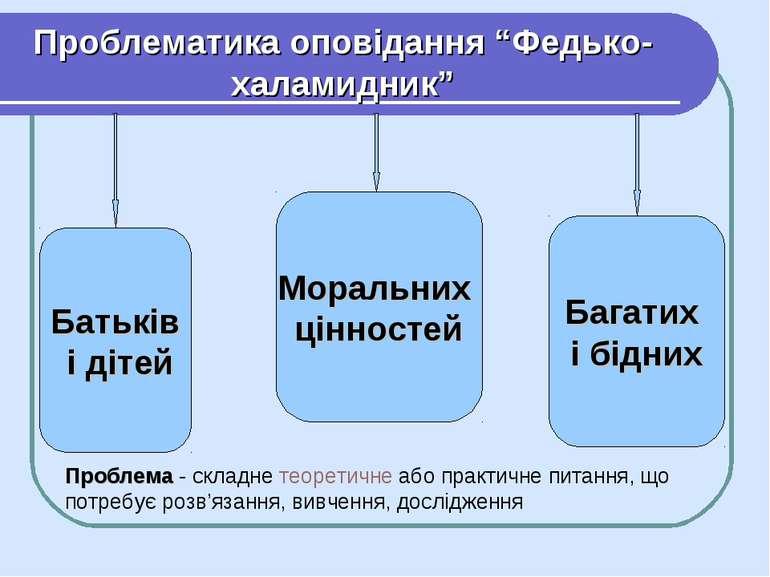 Батьків і дітей Багатих і бідних Моральних цінностей Проблематика оповідання ...