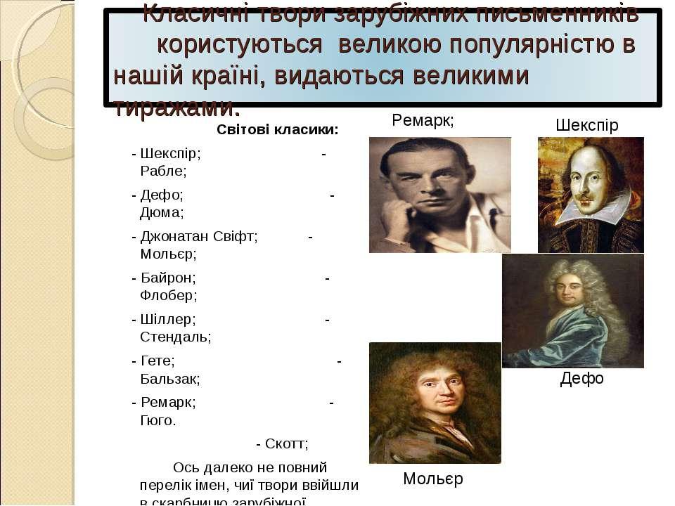 Світові класики: - Шекспір; - Рабле; - Дефо; - Дюма; - Джонатан Свіфт; - Моль...