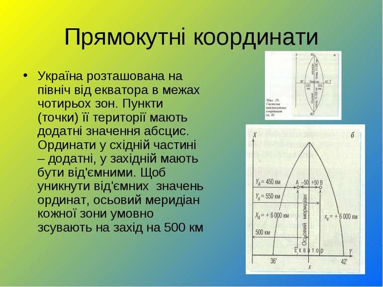Прямокутні координати Україна розташована на північ від екватора в межах чоти...