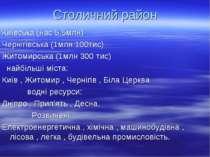 Столичний район Київська (нас 5,5млн) Чернігівська (1млн 100тис) Житомирська ...