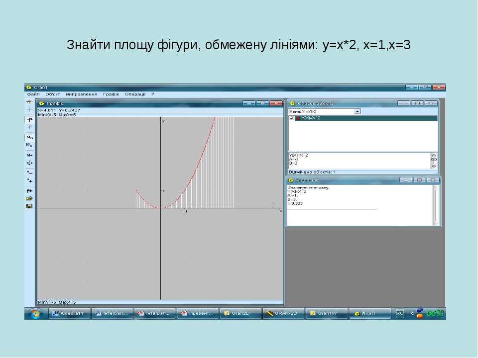Знайти площу фігури, обмежену лініями: у=х*2, х=1,х=3