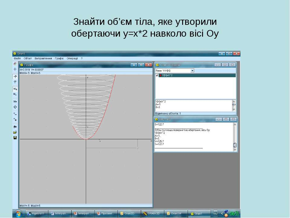 Знайти об'єм тіла, яке утворили обертаючи у=х*2 навколо вісі Оу