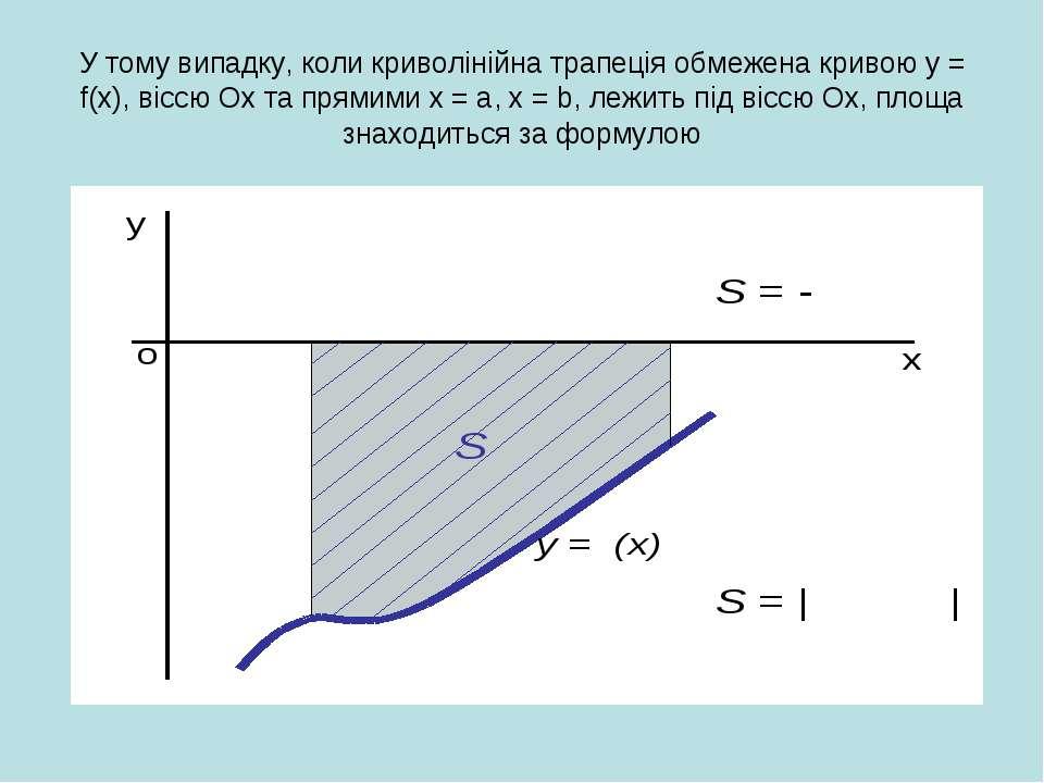 У тому випадку, коли криволінійна трапеція обмежена кривою у = f(x), віссю Ох...
