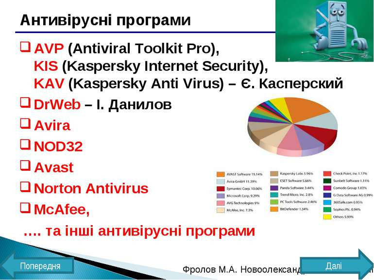Антивірусні програми AVP (Antiviral Toolkit Pro), KIS (Kaspersky Internet Sec...