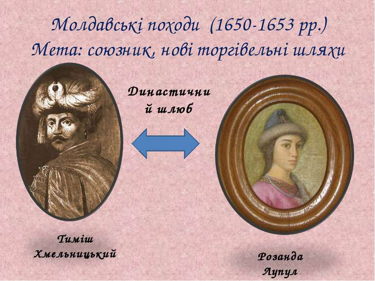 Молдавські походи (1650-1653 рр.) Мета: союзник, нові торгівельні шляхи Тиміш...