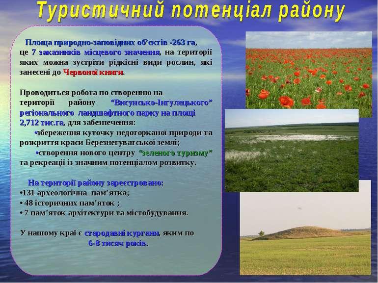 Площа природно-заповідних об'єктів -263 га, це 7 заказників місцевого значенн...