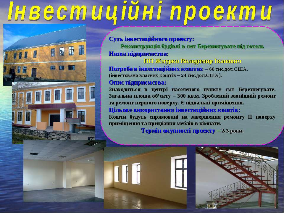 Суть інвестиційного проекту: Реконструкція будівлі в смт Березнегувате під го...