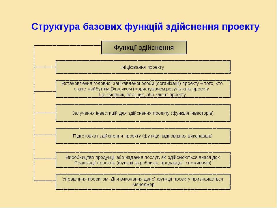 Структура базових функцій здійснення проекту Функції здійснення Управління пр...