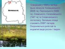 Створений у 1968 р. на базі трьох лісництв: Копищанського (6935 га), Пергансь...