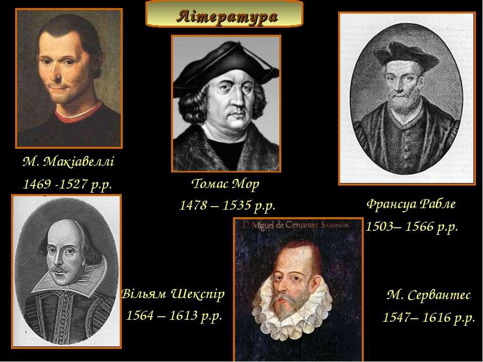 М. Макіавеллі 1469 -1527 р.р. Томас Мор 1478 – 1535 р.р. Франсуа Рабле 1503– ...