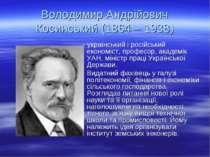 Володимир Андрійович Косинський (1864 – 1938) - український і російський екон...