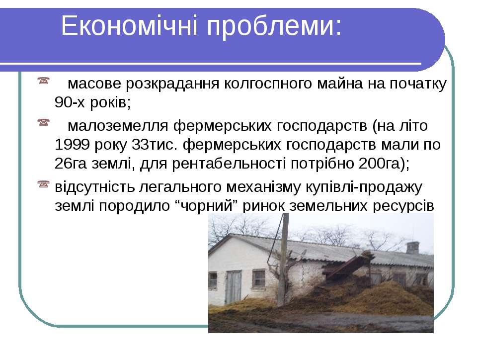 Економічні проблеми: масове розкрадання колгоспного майна на початку 90-х рок...