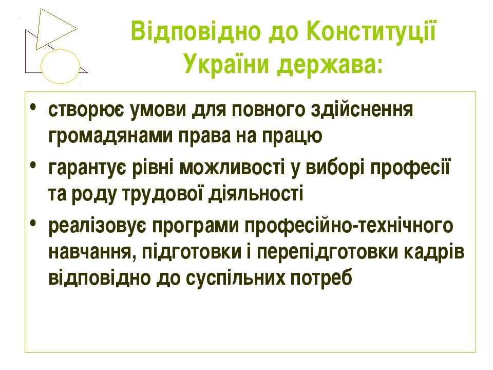Відповідно до Конституції України держава: створює умови для повного здійснен...