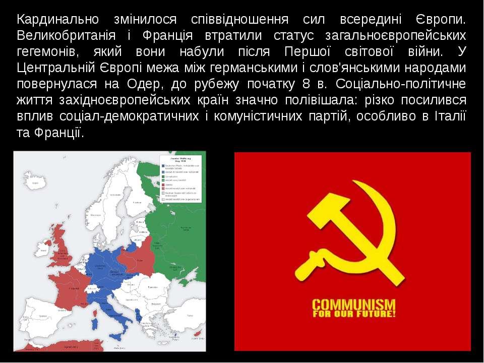 Кардинально змінилося співвідношення сил всередині Європи. Великобританія і Ф...