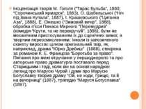 """Інсценізація творів М. Гоголя (""""Тарас Бульба"""", 1880; """"Сорочинський ярмарок"""", ..."""