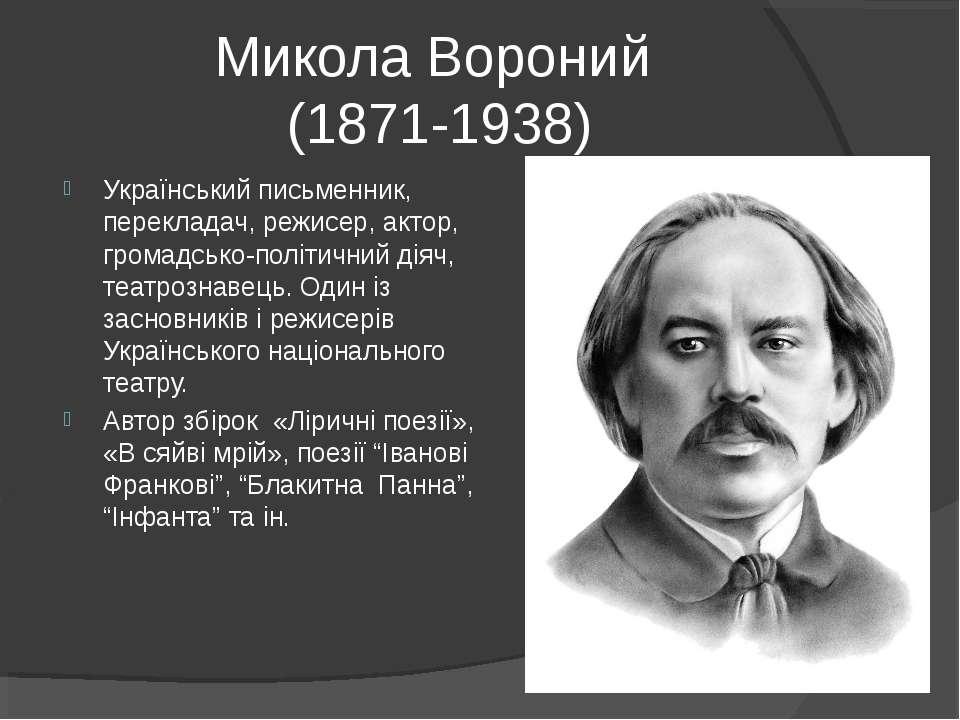 Микола Вороний (1871-1938) Український письменник, перекладач, режисер, актор...