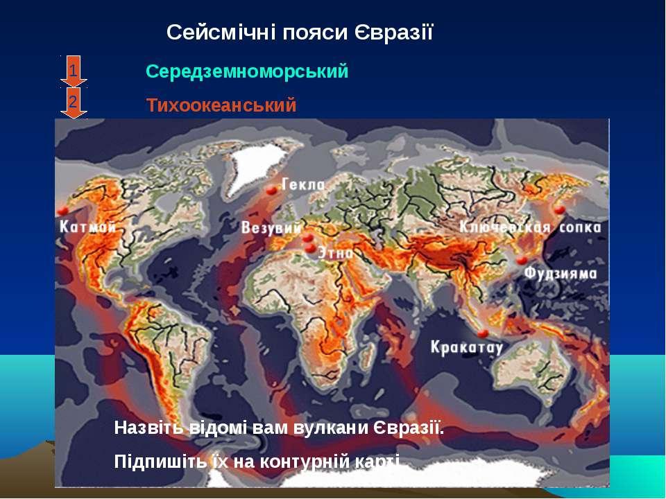 Сейсмічні пояси Євразії 2 1 Середземноморський Тихоокеанський Назвіть відомі ...