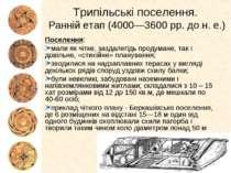 Трипільські поселення. Ранній етап (4000—3600 рр. до н. е.) Поселення: мали я...