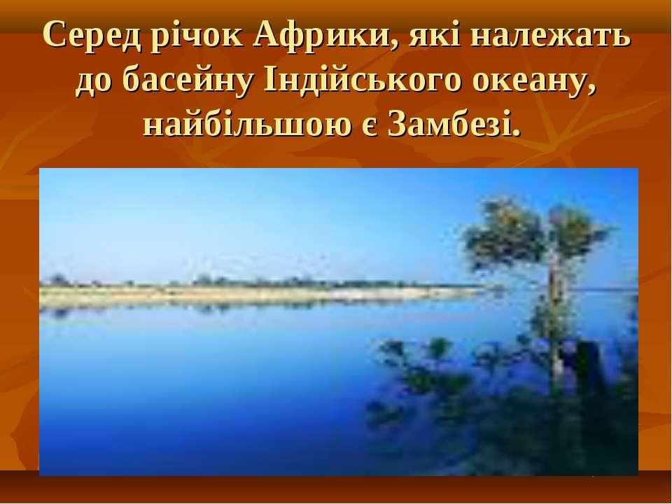 Серед річок Африки, які належать до басейну Індійського океану, найбільшою є ...