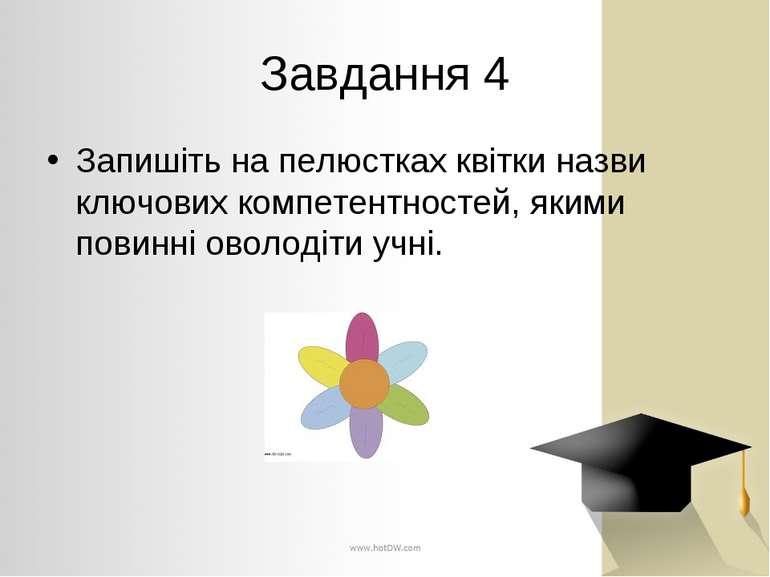 Завдання 4 Запишіть на пелюстках квітки назви ключових компетентностей, якими...