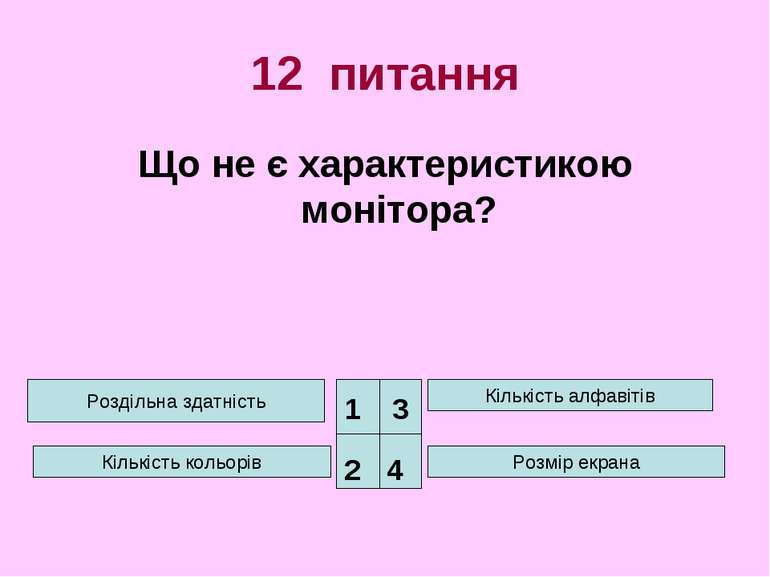 12 питання Що не є характеристикою монітора? Роздільна здатність Кількість ко...