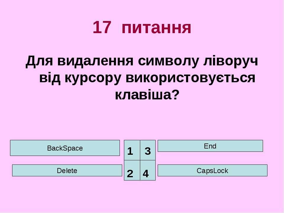 17 питання Для видалення символу ліворуч від курсору використовується клавіша...