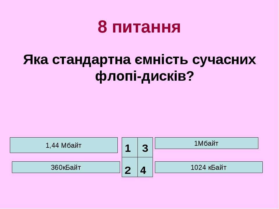 8 питання Яка стандартна ємність сучасних флопі-дисків? 1,44 Мбайт 360кБайт 1...