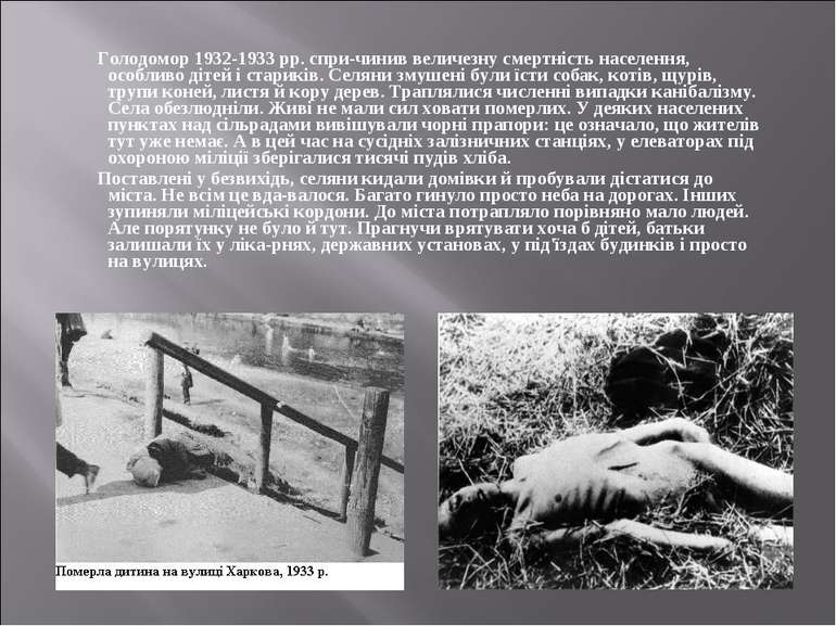 Голодомор 1932-1933 рр. спри чинив величезну смертність населення, особливо д...