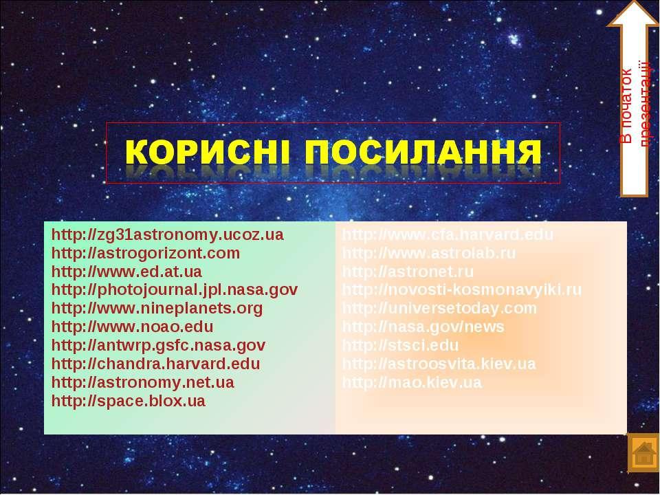 В початок презентації http://zg31astronomy.ucoz.ua http://astrogorizont.com h...