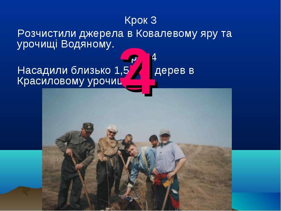 Крок 3 Розчистили джерела в Ковалевому яру та урочищі Водяному. Крок 4 Насади...