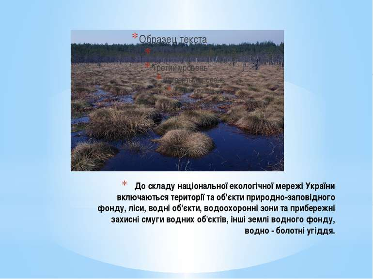 До складу національної екологічної мережі України включаються території та об...