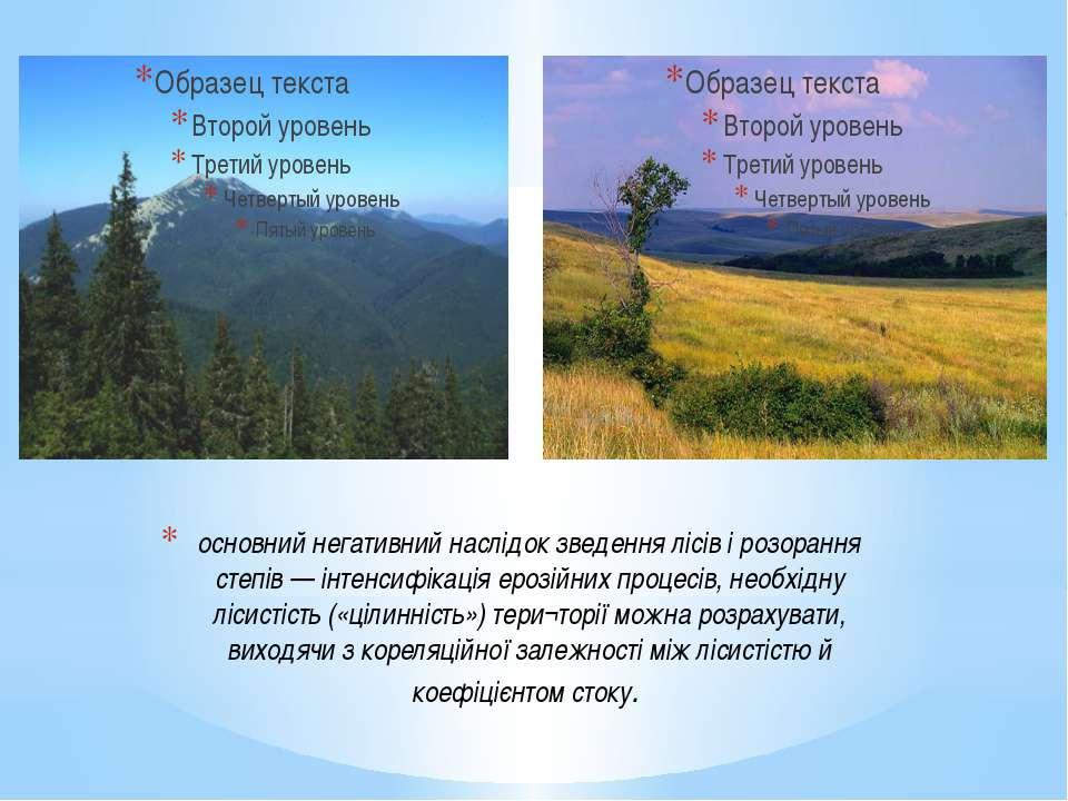 основний негативний наслідок зведення лісів і розорання степів — інтенсифікац...