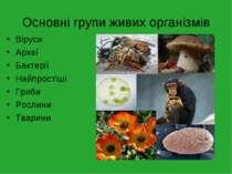 Основні групи живих організмів Віруси Археї Бактерії Найпростіші Гриби Рослин...