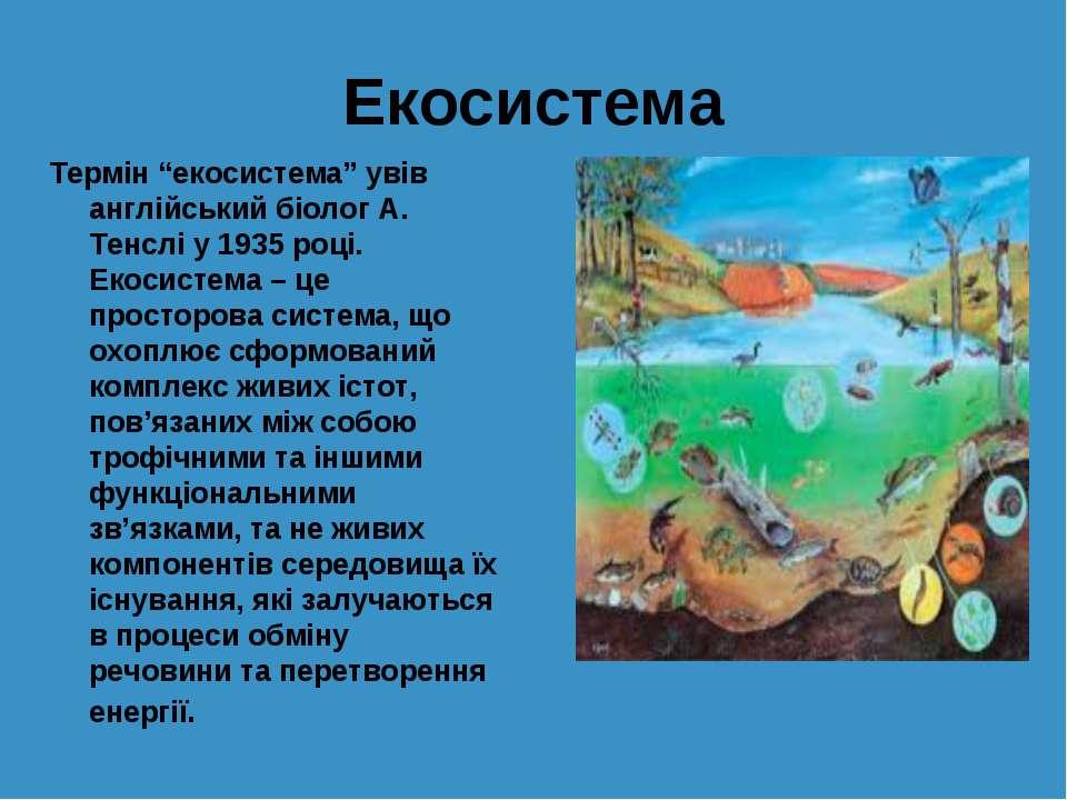 """Екосистема Термін """"екосистема"""" увів англійський біолог А. Тенслі у 1935 році...."""