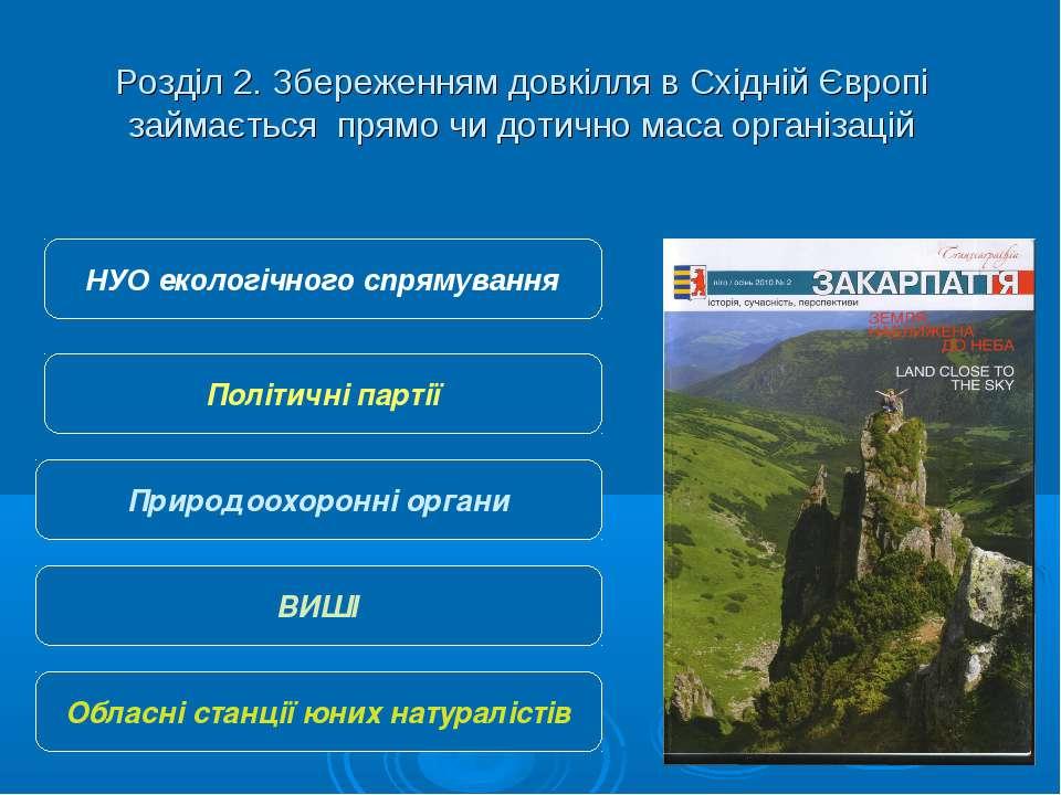Розділ 2. Збереженням довкілля в Східній Європі займається прямо чи дотично м...