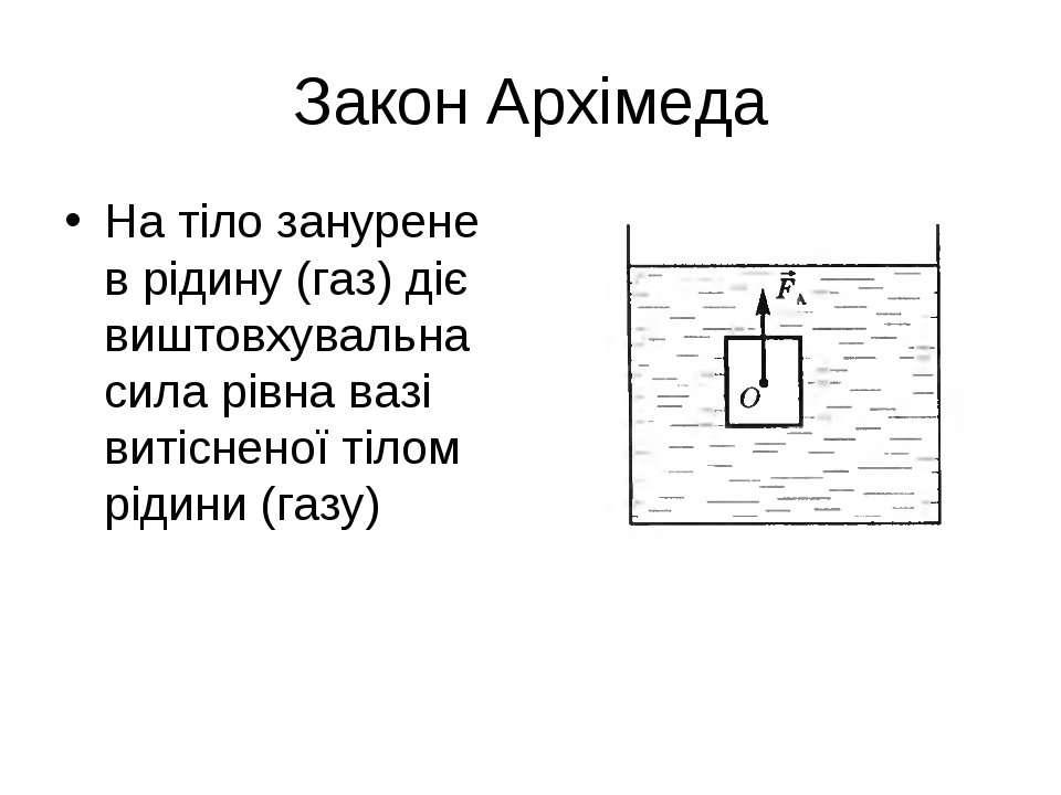 Закон Архімеда На тіло занурене в рідину (газ) діє виштовхувальна сила рівна ...