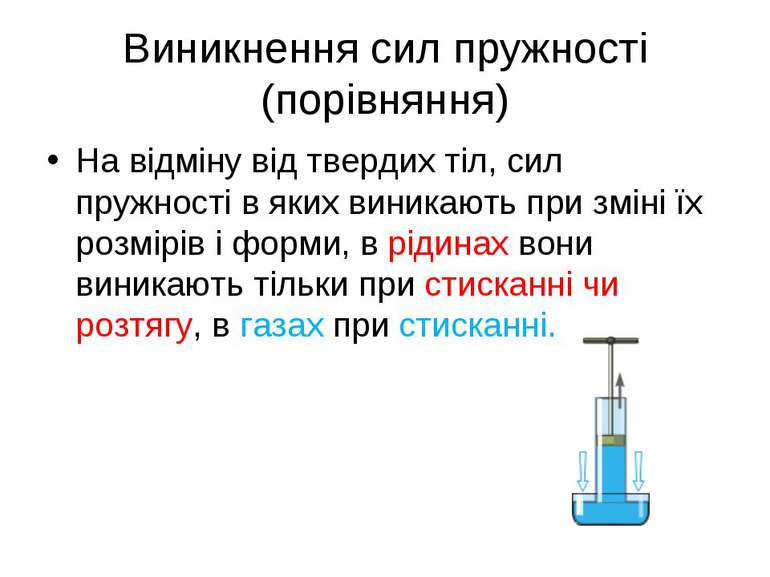 Виникнення сил пружності (порівняння) На відміну від твердих тіл, сил пружнос...