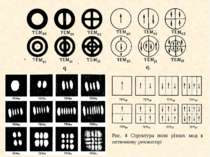 Рис. 4 Структура поля різних мод в оптичному резонаторі