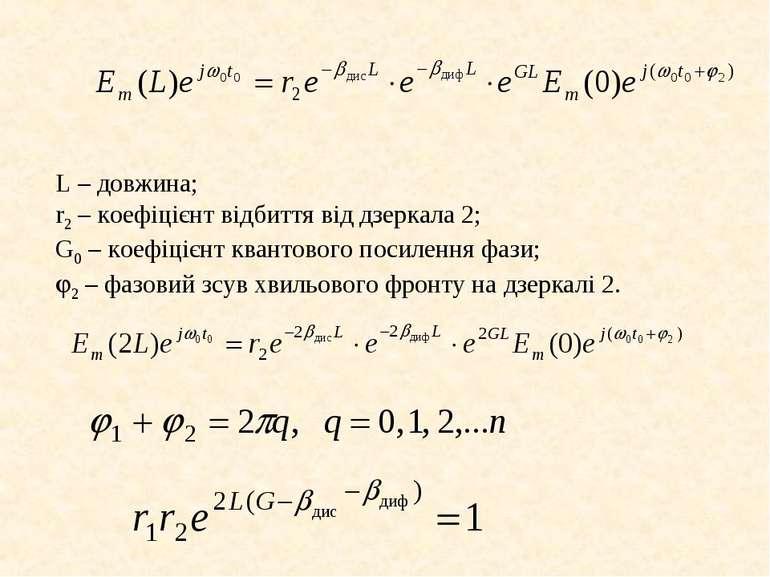 L – довжина; r2 – коефіцієнт відбиття від дзеркала 2; G0 – коефіцієнт квантов...