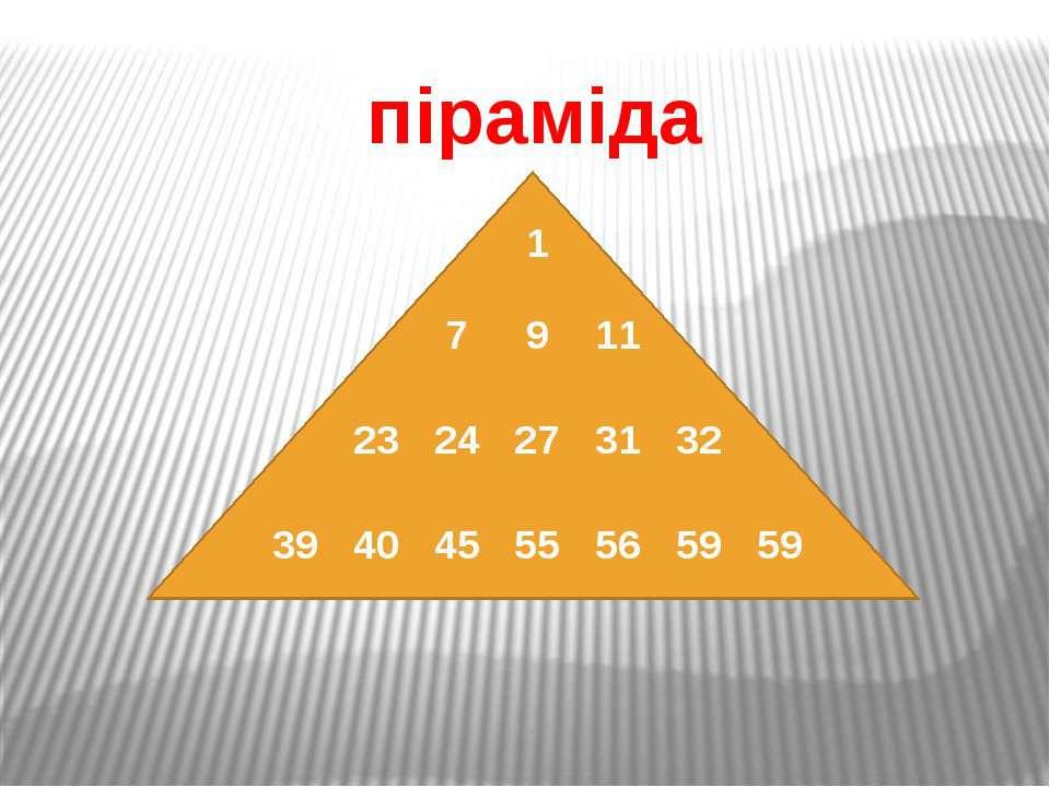 піраміда 1 7 9 11 23 24 27 31 32 39 40 45 55 56 59 59